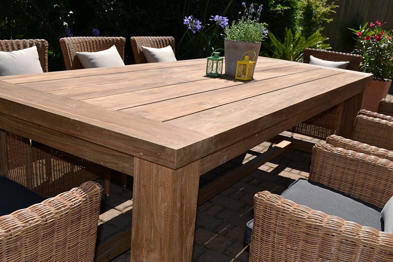 Amazon De Bomey Teak Sitzgruppe Garten Garnitur Tisch 240x100