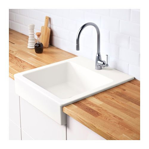 DOMSJÖ Single bowl apron front sink, white | Apron front sink ...