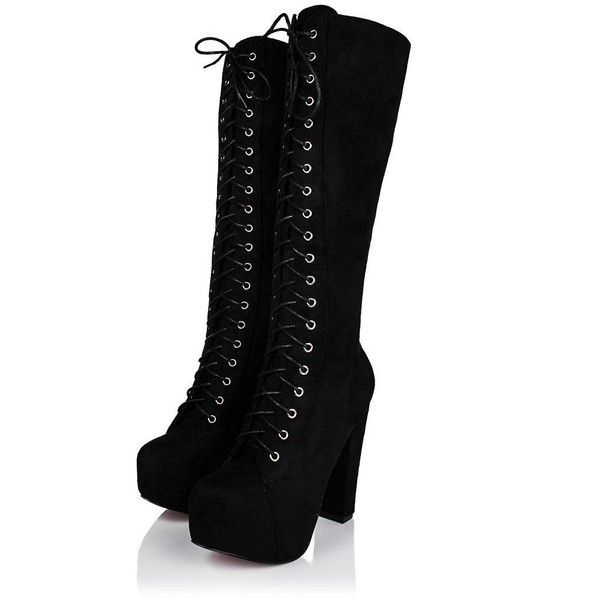 Amazon.com | Block Heel Lace Up Zip Platform Knee High Boots Black ...