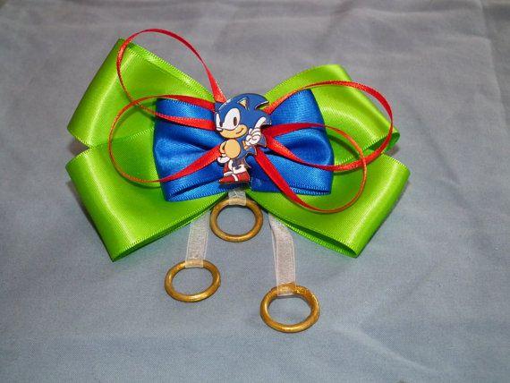 Sega Sonic The Hedgehog Custom Hair Bow Barrette By Gollywillikers Custom Hair Bow Hair Bows Bows