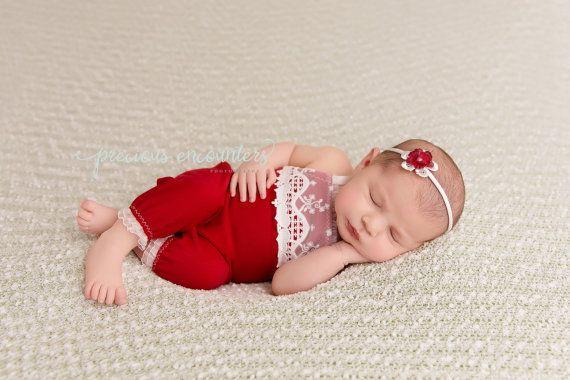 Red Romper Baby Romper Red Romper RTS Newborn Romper Newborn Photo Prop Newborn Christmas lace romper