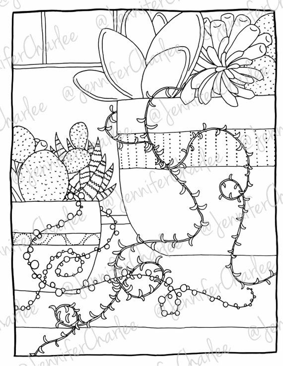Potted Plants Coloring Book Page Succulents Vine Coloring