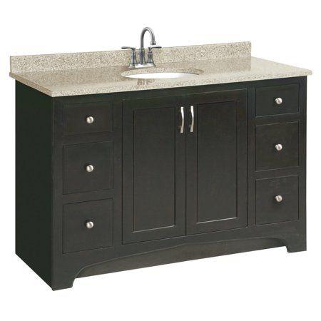 Design House 541292 Ventura Unassembled 2 Door 4 Drawer Vanity Without Top 48 Inch Espresso Brown Vanity Cabinet Wood Vanity Vanity