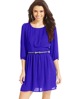 BeBop Juniors' Belted Three-Quarter-Sleeve Dress