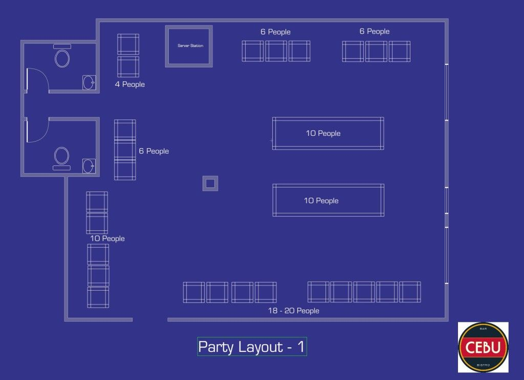 Choose from 3 floor plans for your event at Cebu Bar & Bistro.. (#3) 80+ people