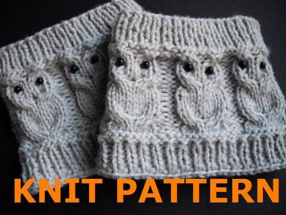 KNIT PATTERN Owl Cabled Boot Cuff por ClockworkChristina en Etsy ...