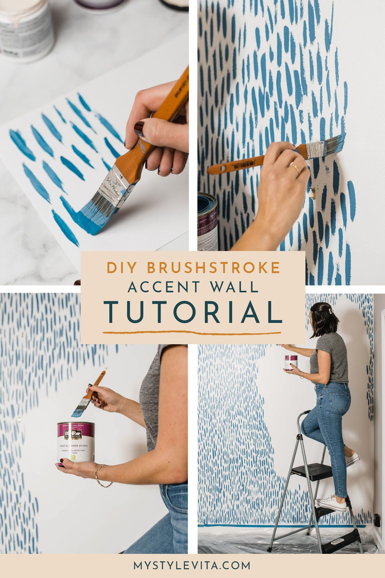 DIY Brushstroke Accent Wall Tutorial | My Style Vita #accentwall #homedecor #ideas #painted #DIY