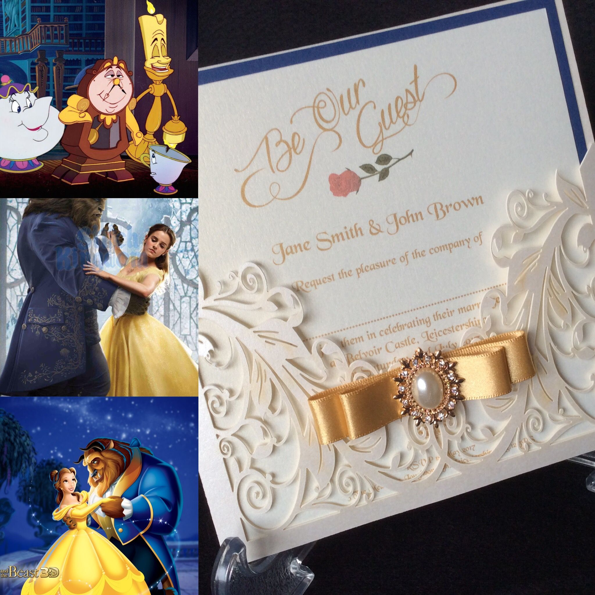 Beauty and the Beast themed wedding stationary   Wedding invitations ...
