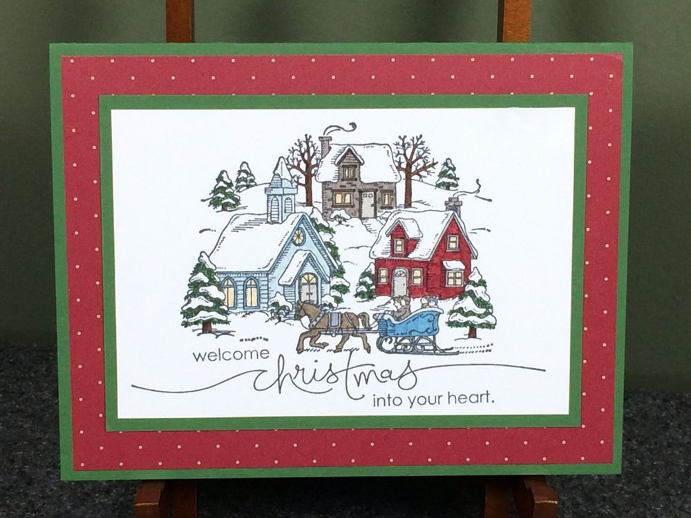 Stampin Up Handmade Christmas Card Christmas Village Combined Shipping #Handmade #Christmas