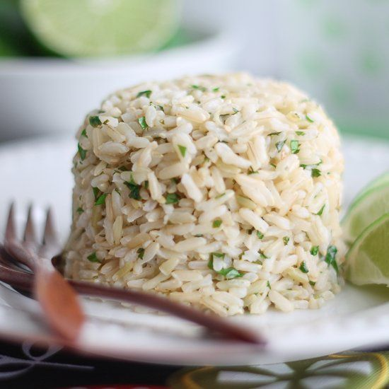 Delicious & easy! Cilantro Lime Brown Rice just like Chipotles only made at home. Vegan & Gluten Free