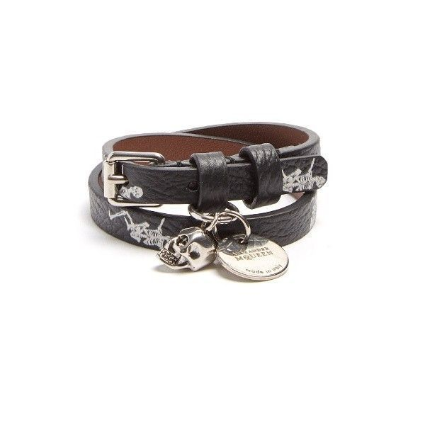 Alexander McQueen Skeleton-print double-wrap leather bracelet yzk0Ao