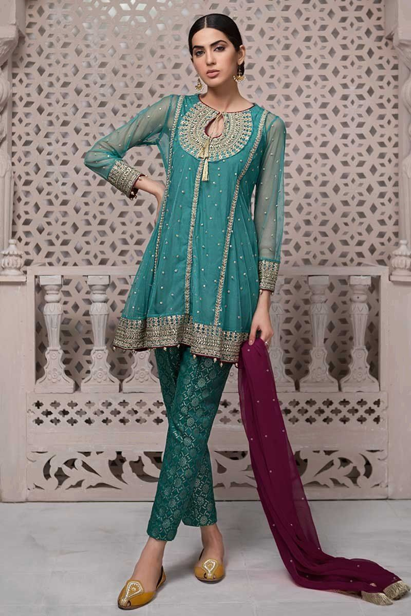 Ravishing green chiffon pakistani stitched dress by maria b wedding