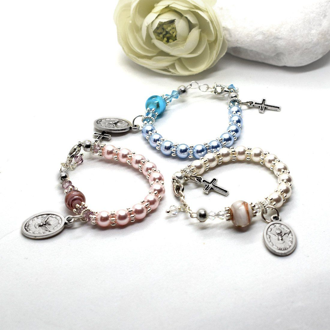 Baptism bracelet, Rosary bracelet, Baby Girl / Baby Boy gift, Swarovski Murano glass bracelet, Christening gift, Baptism gift, Catholic gift