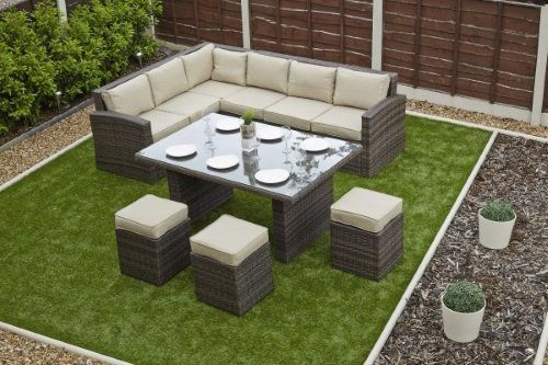 Rattan Outdoor Garden Corner Sofa Dining Table Set Rattan Garden Furniture  Sunroom Conservatory Patio
