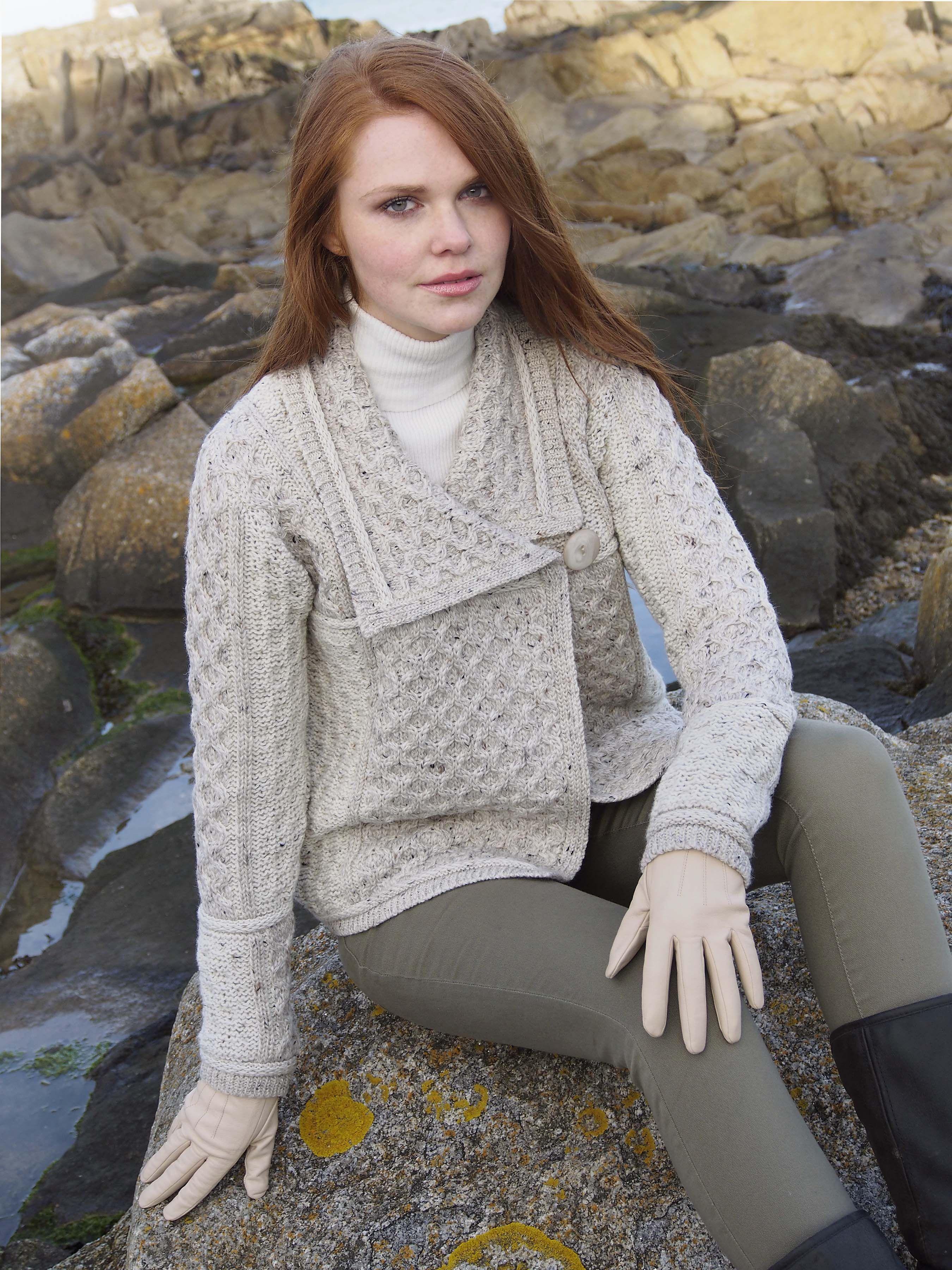 299089182dcd6f One Button Aran Cardigan by Natallia Kulikouskaya for West End Knitwear