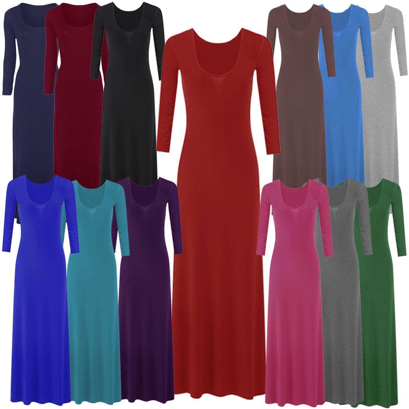 New ladies plus size sleeve flared long maxi dress