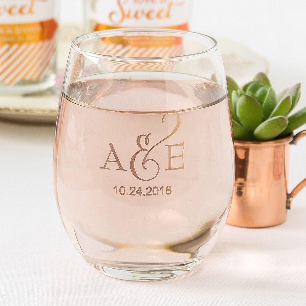 Personalized 9 Oz Stemless Wine Glass Wine Glass Wedding Favors Wedding Favors Wine Glasses Wine Wedding Favors