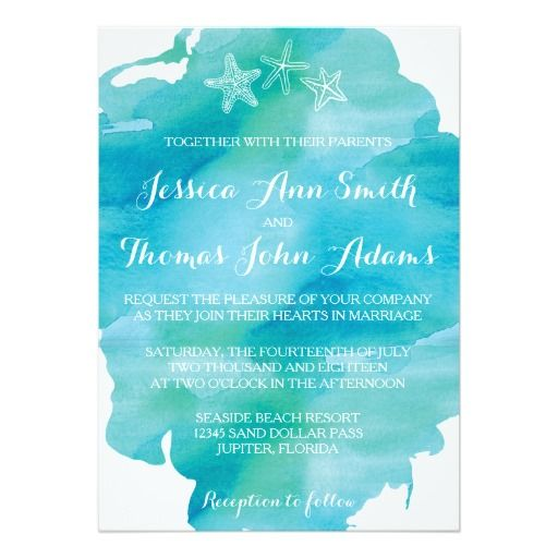 Beach Watercolor Starfish Ocean Wedding Invitation Beach - best of invitation text adalah