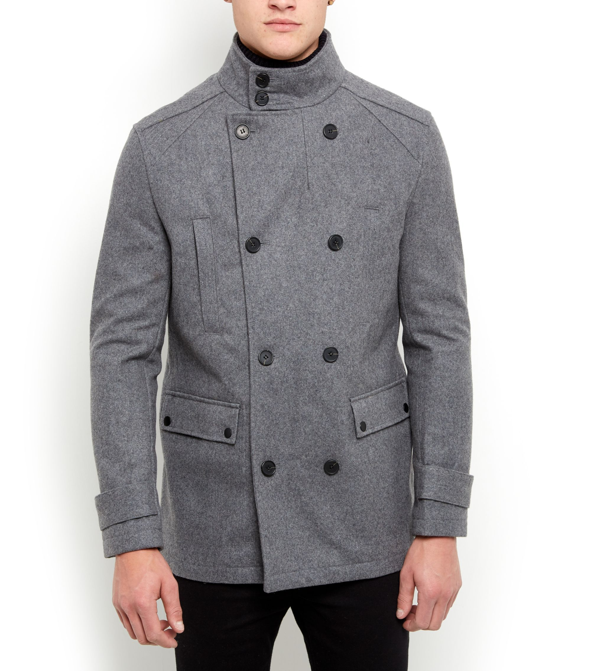 Pale Grey Wool Mix Military Jacket | New Look | Fashion ...