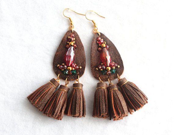 BIG BROWN Natural Leather Tassel Swarovski Beads by MADZIMADZI