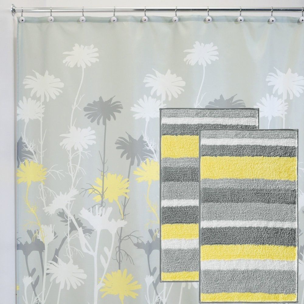 Bathroom rug shower curtain set grey yellow 1 shower for Yellow and gray bathroom sets