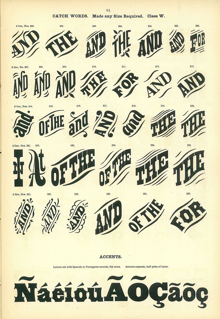 Catch Words Morgans  Wilcox Wood Type Catalog  D E S I G N