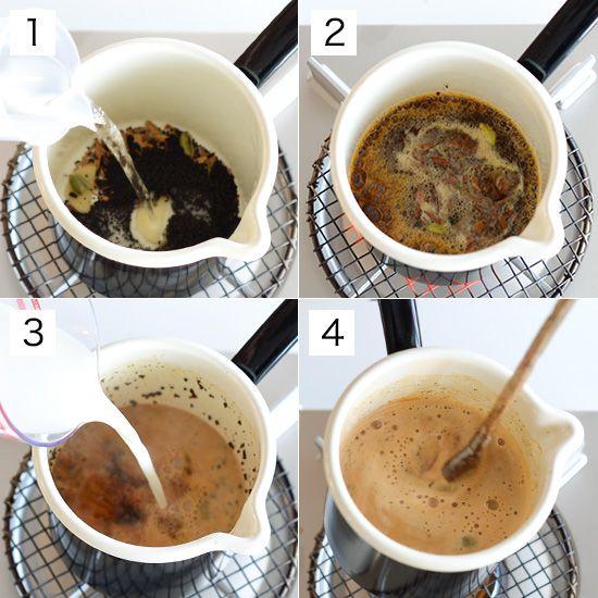 作り方  [1]鍋に茶葉、スパイス、しょうが、水を入れ中火にかける。  [2]ふつふつと沸いてきたら火を弱め、1〜2分ほどかけてしっかりと煮出す。  [3]スパイスの香りが立ってきたら、牛乳、きび砂糖を加える。  [4]時々混ぜながら4分ほどかけてゆっくりと温め、沸騰する寸前で火をとめる。