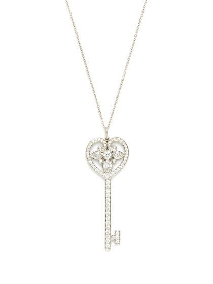 Tiffany Tiffany Co Diamond Ornate Heart Key Pendant Necklace