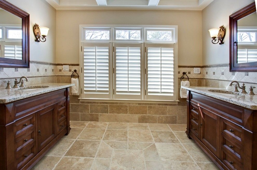 Travertine Tile Bathroom Traditional With Custom Vanity Dark Stained
