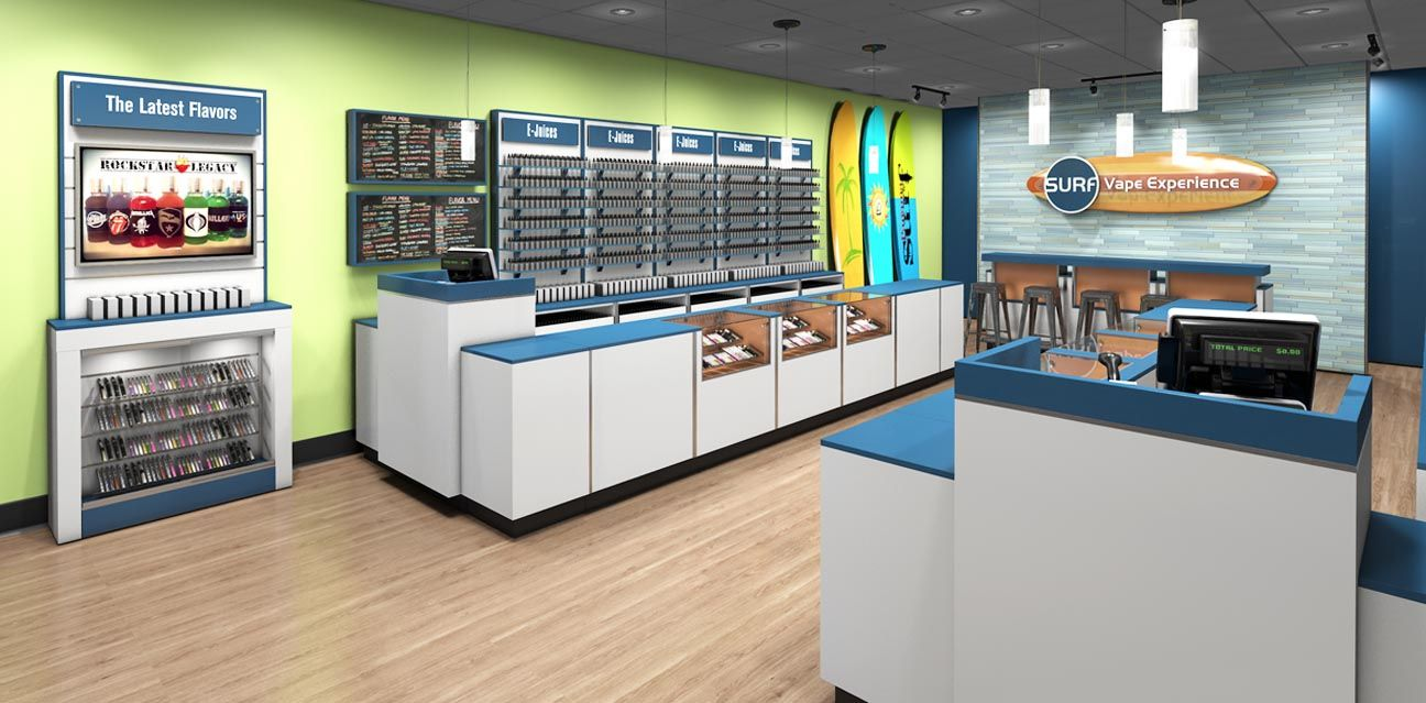 Vape Store Design Fixtures and Display Ideas Store