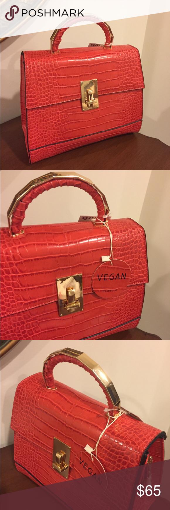 Nwt Isabelle Vegan Red Leather Handbag