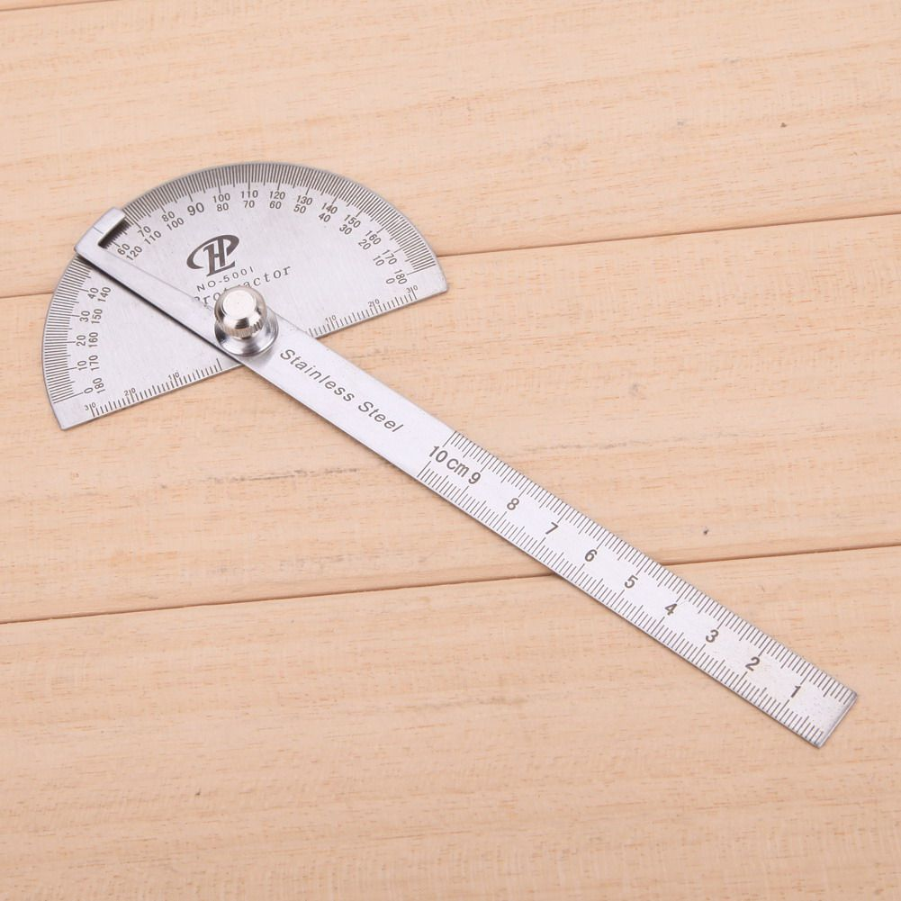 Stainless Steel Round Head Dual Arm 180 ° Protractor Angle Finder Rotary Ruler