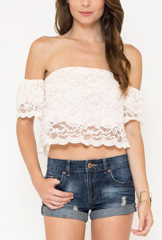 Lace Off Shoulder Crop Top in Cream