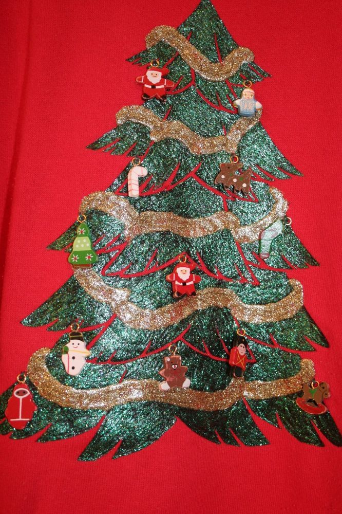 UGLY TACKY CHRISTMAS SWEATSHIRT Red Women\u0027s XL/Glitter Tree with