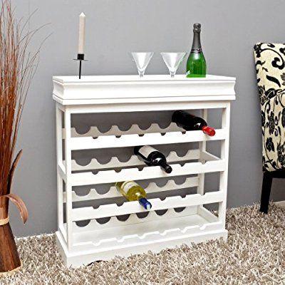 ts-ideen Weinregal weiß für 24 Flaschen Flaschenregal weißes Holz - regale für die küche
