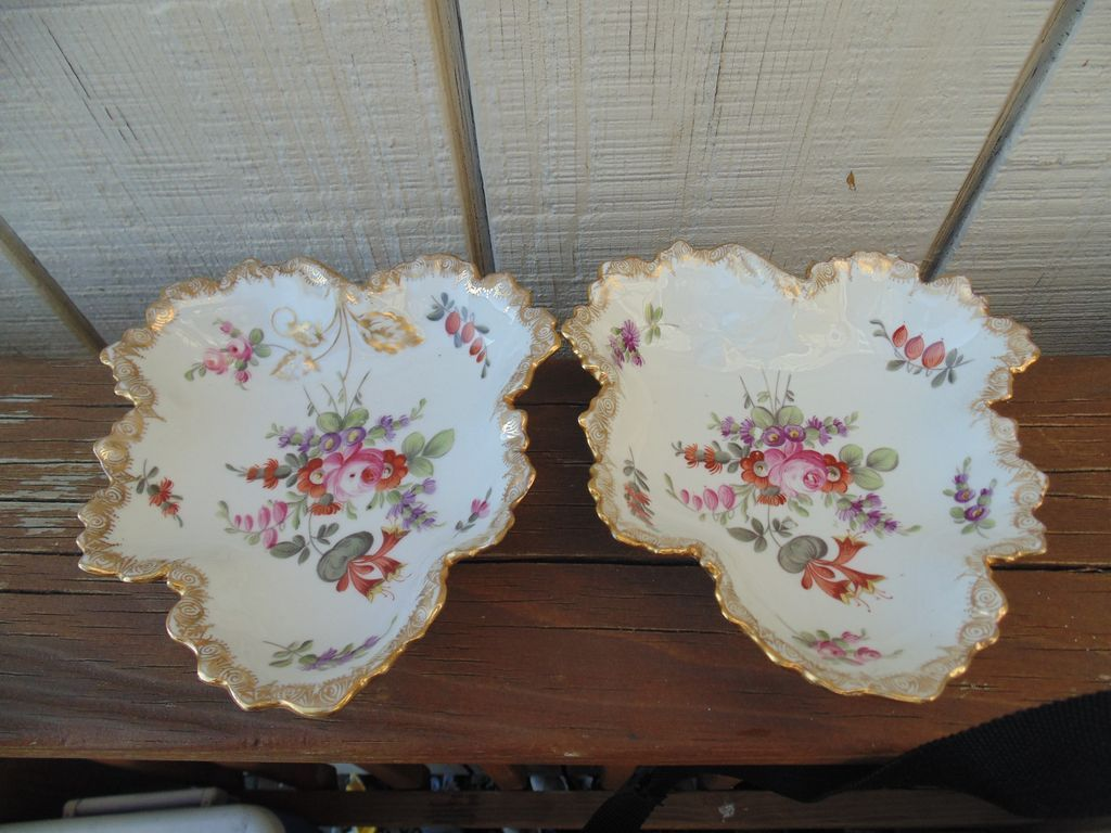 Two William Guerin Limoge France Leaf Dishes