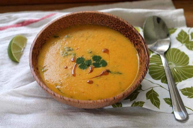 roasted butternut squash soup with coconut, miso, and lime #butternutsquashsoup
