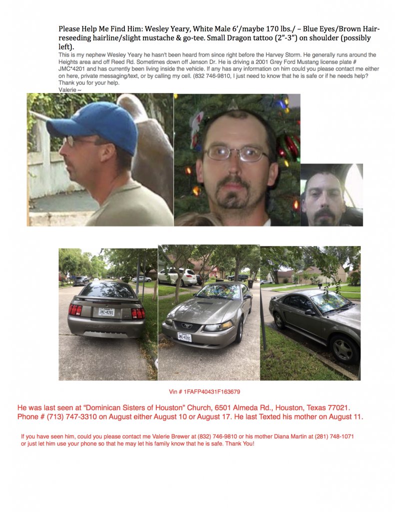 Missing Person from Hurricane Harvey Please Share to Help