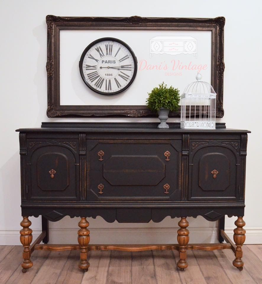 Phenomenal Antique Black Buffet Sideboard With Naked Legs Buffets Interior Design Ideas Helimdqseriescom