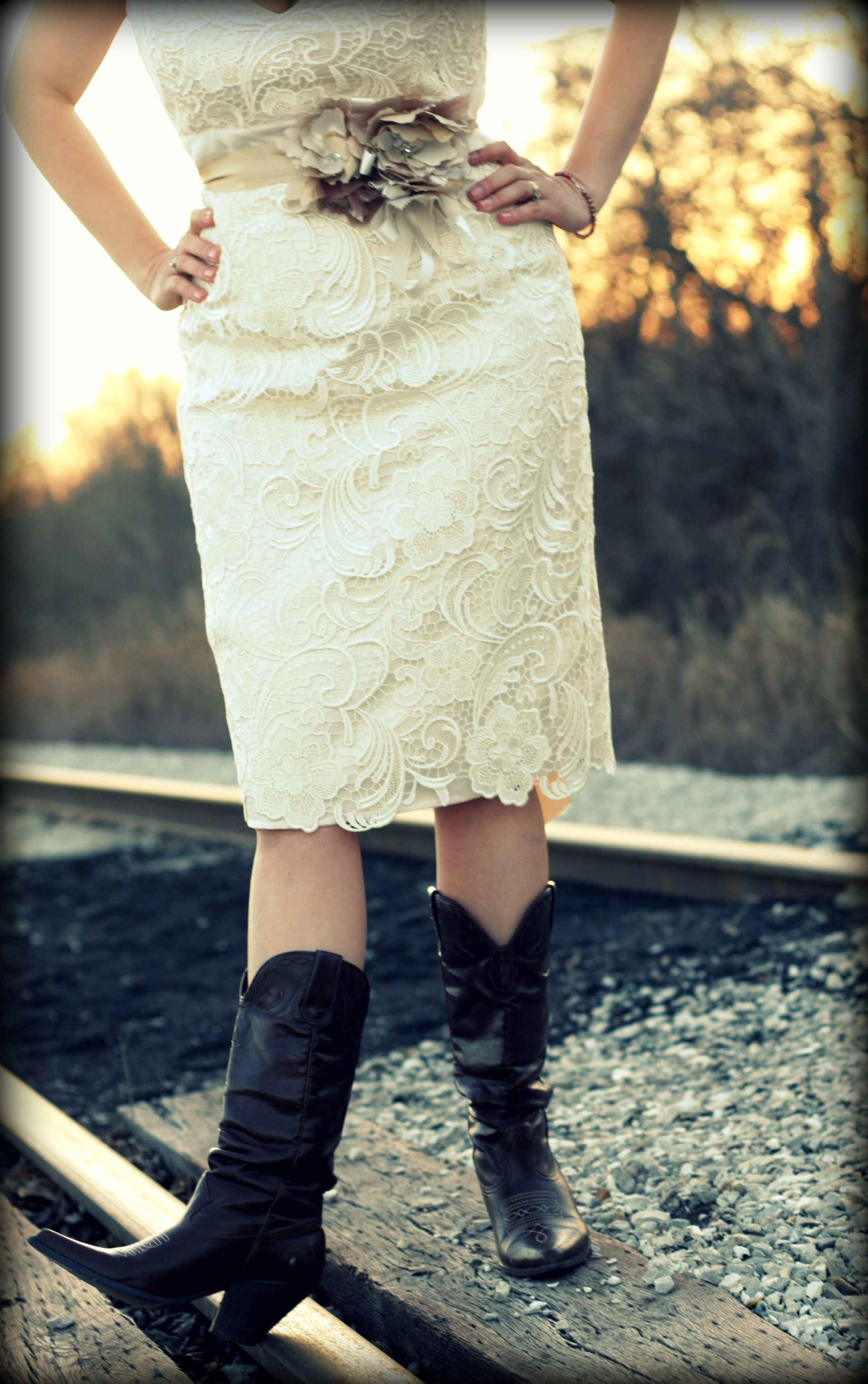 Lace wedding dress with cowboy boots trendy wedding