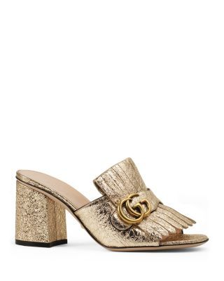 Gucci Marmont Metallic Mid Heel Slide