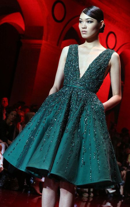 PARIS COUTURE FASHION WEEK: Emerald Green at Elie Saab, Zuhair Murad & more - Yahoo Lifestyle UK