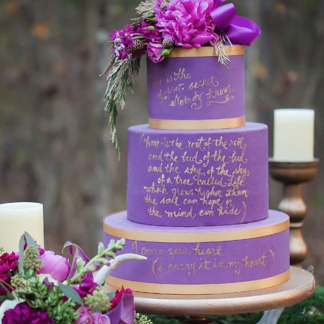 We Adore This Ee Cummings Poem On A Wedding Cake Photographer Caseyhphotos Flowers
