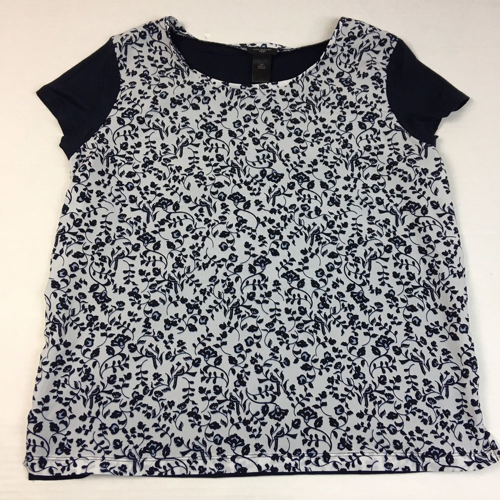 Ann taylor womens petite summer top shirt size lp navy short front