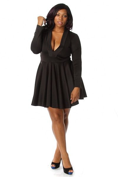 Plus Size Long Sleeve V-neck Skater Dress | Cute Clothes | Dresses ...