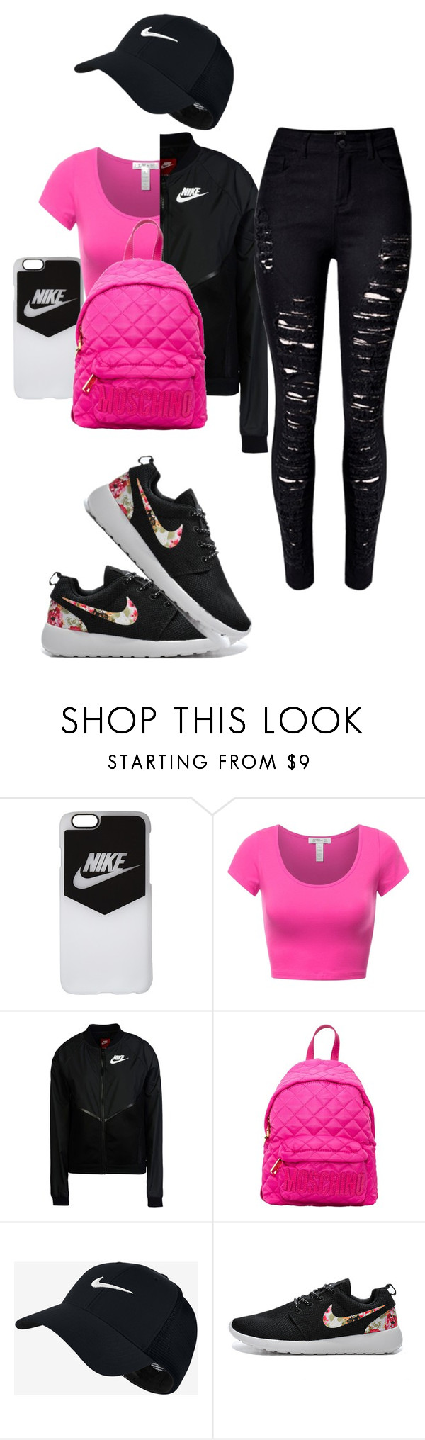 """""""got me a check"""" by offically-tri1l on Polyvore featuring NIKE, Moschino and WithChic"""