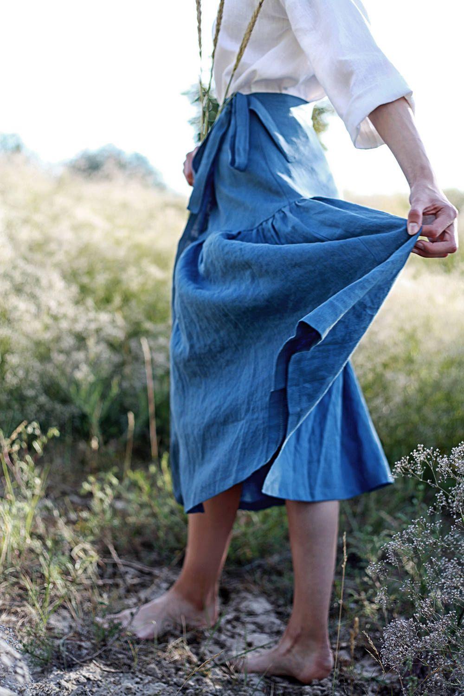 Wrap Skirt, Custom Color, Soft Linen Skirt, Ruffled Maxi Skirt, Linen Wrap Skirt, Long Wrap Skirt, Linen Maxi Skirt, Boho Skirt