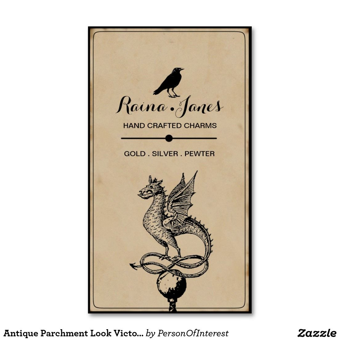 Antique Raven And Dragon Business Cards | Business cards and Business