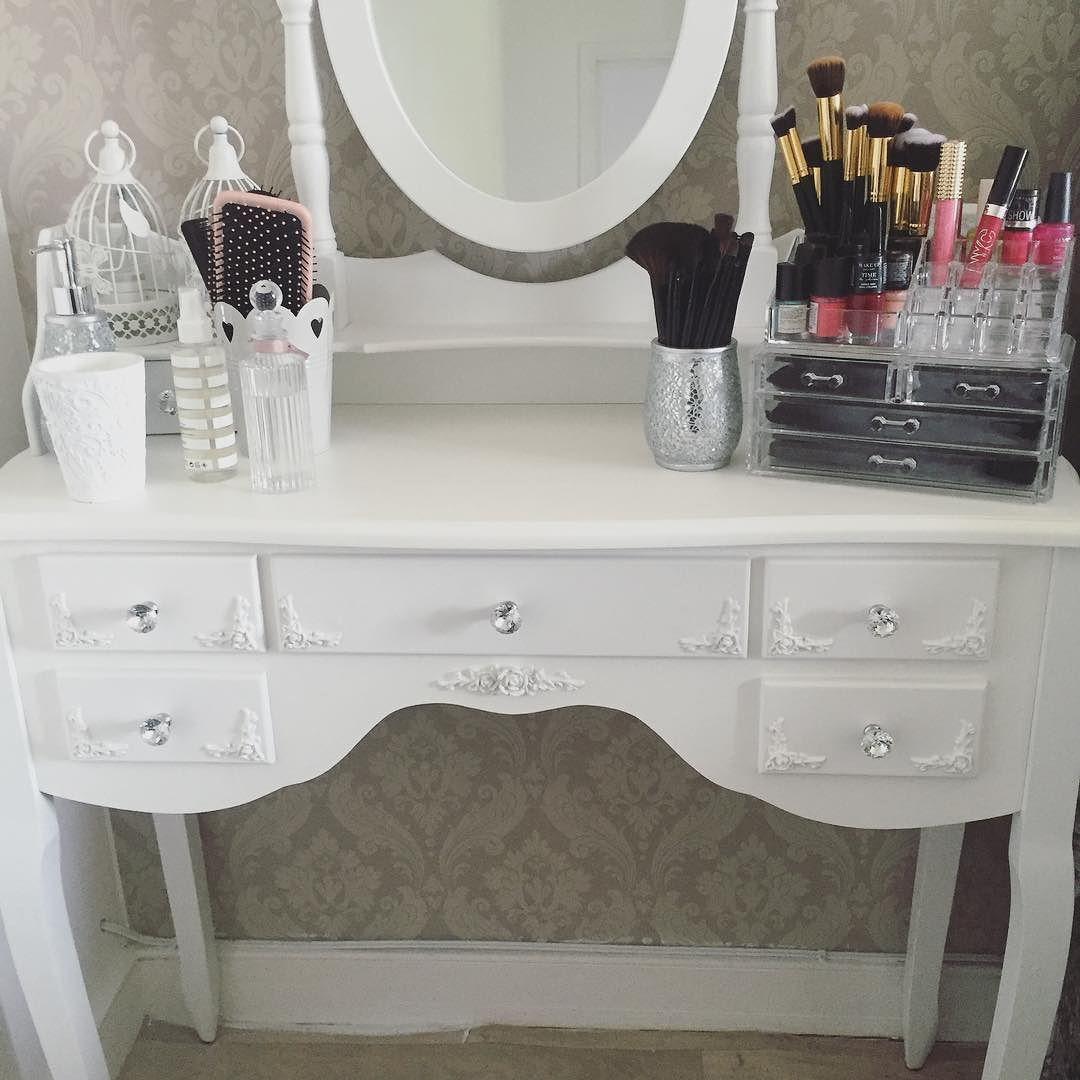 Dressingtable Bedroom Candles Homedecor White Furniture Crystal Makeup