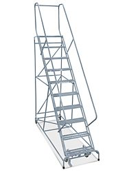 10 Step Safety Angle Rolling Ladder Assembled With 12 Top Step H 3135 12 Safety Ladder Rolling Ladder Ladder